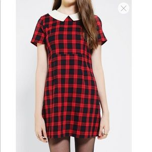 Coincidence & Chance Collared Plaid Babydoll Dress